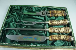 JACOBS & CO.SOLINGEN ROSTFREI CARVING SET STAG HORN HANDLES BOXED