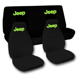 Jeep wrangler TJ front+back car seat covers solid black w/Jeep,CHOOSE