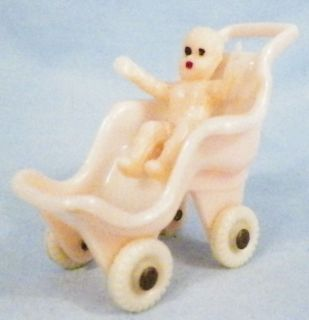 Sweet Baby Doll in Pink Hard Plastic Carriage Buggy Vintage Dollhouse