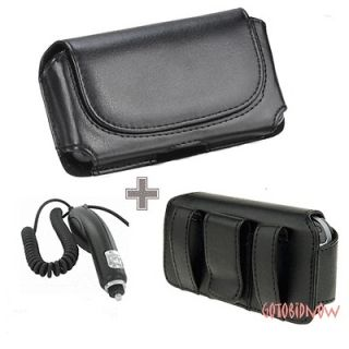 Casio GzOne Commando PHONE LEATHER POUCH CASE HOLSTER+CAR CHARGER