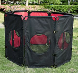 Black 8 Panel 32 Heavy Duty Pet Playpen Dog Exercise Pen Cat Fence B