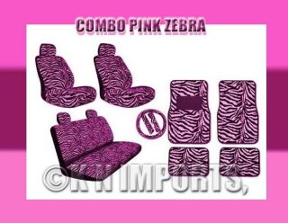 15PCS PINK ZEBRA COMBO LOW BACK CAR SEAT COVERS (Fits Jeep Grand