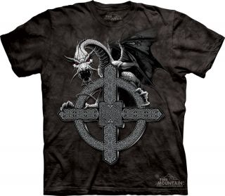 New Celtic Cross Dragon 100% Cotton T Shirt Tee The Mountain