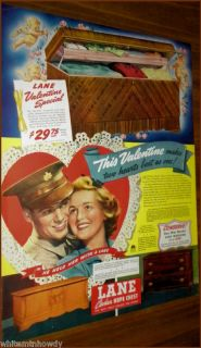 1943 LANE Cedar Hope Chest AD~Army Soldier Valentine