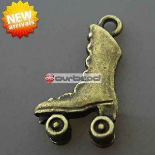 50 Antique Vintage Brass Roller Skates Charms OBSTS0498 4