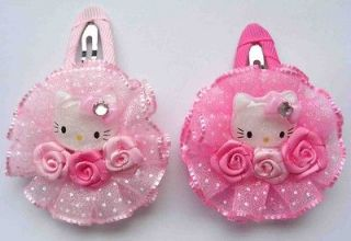10 pcs Hello Kitty Flower Color baby girl hair clip Pin bow 2 Inch