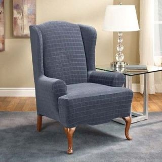 Surefit Blue Stretch Squares Pattern Wing Chair Cover Slipcover