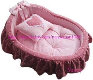 Princess Pet Dog Cat Bed House basket Pink/Blue+pillow