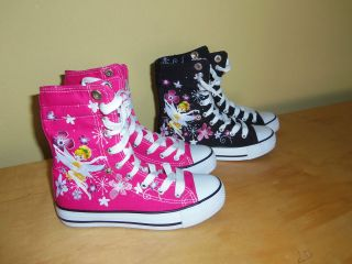 Girls High Top Canvas Sneakers shoes Pink and Black Color!!New!!