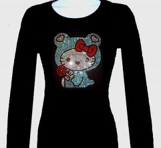 RHINESTONE BABY HELLO KITTY LONG SLEEVE T SHIRT, BLACK SIZE S,M,L