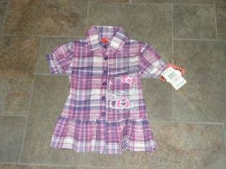 NWT Hello Kitty Plaid Shirt Top Purple Pink 4 5 6 6X 4T
