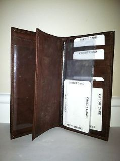 Brown Genuine Leather Checkbook Cover Wallet New 3232