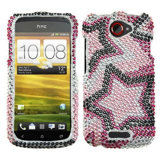 For T Mobile HTC One S Case Cover Bling Rhinestones Twin Stars Diamond