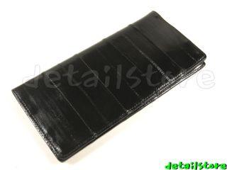 EEL SKIN leather CHECKBOOK COVER HOLDER WALLET BLACK