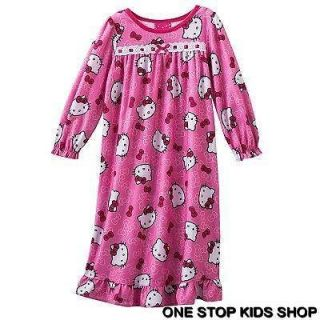HELLO KITTY Toddler Girls 2T 3T 4T Pajamas FLANNEL NIGHTGOWN Pjs Dress