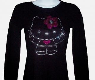 RHINESTONE(HELLO KITTY FLOWER) LONG SLEEVE T SHIRT, BLACK, JR SIZE S