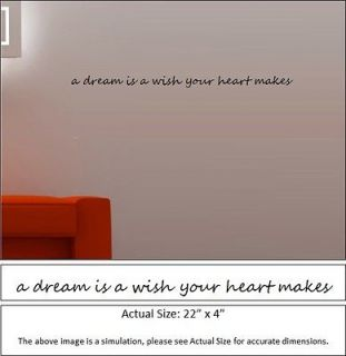 Wall Decal   a dream is a wish your heart makes
