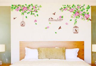 Charming Hibiscus Flower Tree Removable Wall Sticker Flower Room Decor