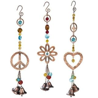 Grasslands Rd Groovy Peace Sign Flower or Heart/Beads & Bells Garden