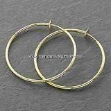 Pair Spring Clip On Hoops Earrings Goldtone 8 Sizes