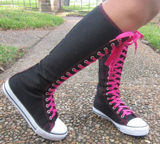 NEW Women Fashion Punk Lace Up Knee High Canvas Sneaker Boots youth