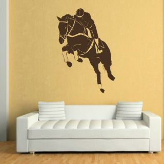 HORSE RIDING JUMPING RIDER WALL ART STICKER DECAL kids vinyl stencil