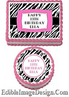 ZEBRA PRINT PINK Edible Birthday Cake Party Image Cupcake Topper Favor