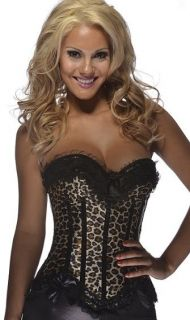 SEXY LEOPARD PRINT BURLESQUE CORSET TOP BUSTIER SMALL TO PLUS SIZE 6XL