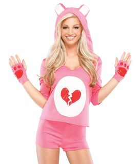 Sexy Cute Womens Pink Care Heart Teddy Bear Halloween Costume