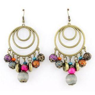 Beautiful Bohemia Gold tone Hoop Beads Dangle Drop Earrings,750 9C