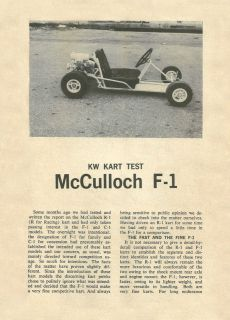Vintage 1962 McCulloch F1 Go Kart Test Report