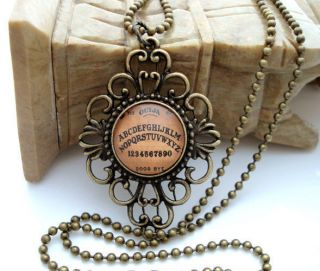 Ouija Board Ornate Antique Brass Glass Tile Necklace FRAMED Halloween