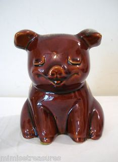 Hull Pottery USA Brown Drip Piggy Bank Blue Vintage #196 6 tall Large