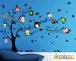 Wall Decal Sticker Removable Photo Frame Tree With Family Quote 39H x