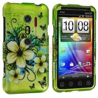 Green Flower Hard Design Case Cover for HTC EVO 3D Sprint