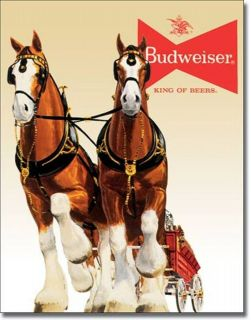 Budweiser King Of Beers Clydesdales Team Wagon Beer Bar Tin Metal Sign