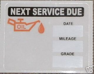 50 STATIC CLING OIL CHANGE STICKERS DECALS BULK LOT i5