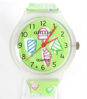 Green  Ice Cream  Pattern Sport Wrist Watch Rubber Time Clock CL010