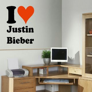 LARGE I LOVE HEART 3 JUSTIN BIEBER BEDROOM WALL MURAL ART STICKER
