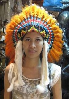Orange Chief Indian Headdress Costume Ostrich Feather War Bonnet