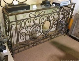 Ornate VICTORIAN Mirrored Scroll Console Table Wrought Iron Sofa Hall