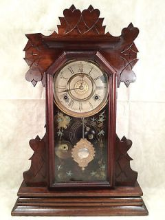 Antique Gingerbread Kitchen Clock with Alarm Unit Unknown Great