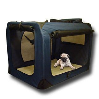 Pet Dog Cat House Soft Travel Crate Carrier Cage Kennel Foldable Navy