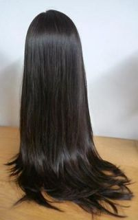 100% Remy Human Hair Lace Wig Silky Straight 22inch 24inch Long 2#