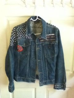 punk denim jacket M studded studs patches cramps diy punx rock and