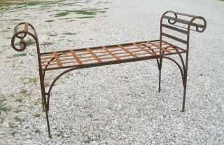 Large Wrought Iron Kings Bench Outdoor or Indoor Seating Metal Patio