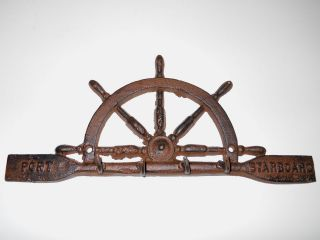 Nautical Decor Cast Iron Rust Ships Wheel Port & Starboard Key Rack