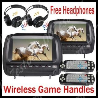 Twin 9 LCD TFT Car Headrest DVD Player Gift Headsets+ 32bit Games