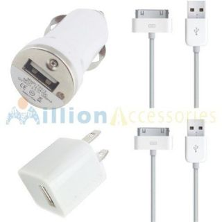 USB AC Wall Charger+ Car Charger + Data Cable for iPod iPhone 4S