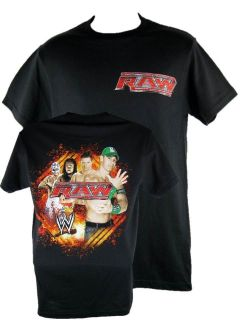 Monday Night Raw Fire Logo John Cena WWE Black T shirt